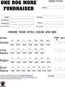 Shirt Fundraiser Order form